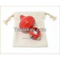 Durable Wooden Spinning Top With Canvas Pouch
