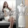 FASHION WOMEN CAREER DRESS STYLIZED NECK-HALIMEX