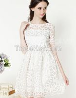 FLOWER LACE CASUAL DRESS FASHION CHEAP-HALIMEX