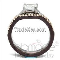 Two Tone Stainless Steel AAA Grade CZ Wedding Ring Sets