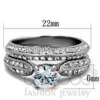 TK1920 Stainless Steel AAA Grade CZ Intricate Wedding Ring Set