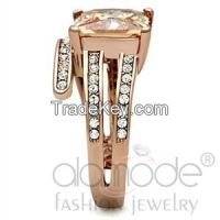 TK1665 Rose Gold Spiral Band /w Illusion & Bead Bright Setting Stainless Steel AAA Grade CZ Engagement/Anniversary Ring