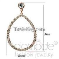 LO3855 Rose Gold Top Grade Crystal Tear-Shaped Dangle Earrings