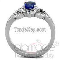 TK1765 Fancy Four-Pronged Claw Set Stainless Steel Synthetic Glass Engagement Ring
