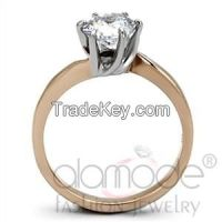 TK1161 Decorative Solitaire Rose Gold Stainless Steel AAA Grade CZ Engagement Ring