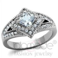 TK1760 Fancy Diamond-Shaped Halo Stainless Steel AAA Grade CZ Engagement Ring