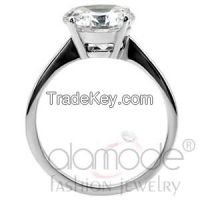 TK013 Classic Solitaire Basket Set /w Tapered Shank Stainless Steel AAA Grade CZ Engagement Ring
