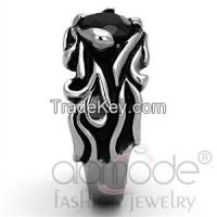 TK1355 Rustic Gothic Jet Black Stainless Steel Synthetic Glass Men's Ring