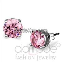 LO3952 Rhodium AAA Grade CZ Rose Pink Stud Earrings