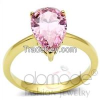 TK1508 Solitaire Inverted Tear-Shaped /w Illusion Setting Stainless Steel AAA Grade CZ Engagement Ring