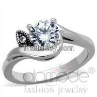 TK1776 Minimalist Pronged /w Twisted Shoulder Stainless Steel AAA Grade CZ Engagement Ring