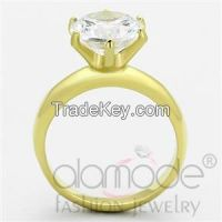 TK1408 Solitaire 6-Pronged Gold Plated Stainless Steel AAA Grade CZ Engagement Ring