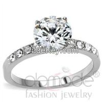 TK198 Classic Surface Prong Setting Stainless Steel AAA Grade CZ Engagement Ring