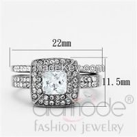 TK1088 Square-Shaped Double Row Grain Set Halo Stainless Steel AAA Grade CZ Wedding Ring Set