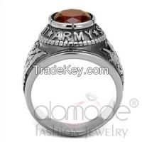 "TK414706 Siam ""United States Army"" Military Stainless Steel Synthetic Glass Men's Ring"