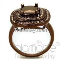 3W1128 Ion Plated AAA Grade CZ Light Coffee Rounded-Square Ring