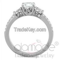 TK1921 Elaborate Bead Bright Setting Stainless Steel AAA Grade CZ Engagement Ring