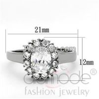 TK1223 Halo 4-Pronged Claw Set Stainless Steel AAA Grade CZ Engagement Ring