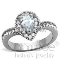 TK1759 Elegant Inverted Tear-Shaped Halo Stainless Steel AAA Grade CZ Engagement Ring