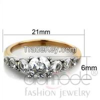 TK1794 Elegant Trellis Two-Toned Stainless Steel & Rose Gold AAA Grade CZ Engagement Ring