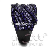 TK2551 Black Lust Interlaced & Paved Stainless Steel Top Grade Crystal Ring
