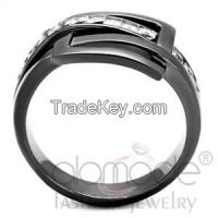 TK2690 Interlaced Light Black Square Stainless Steel AAA Grade CZ Ring