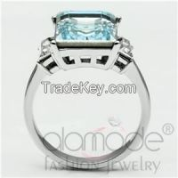 TK1862 Bold Sea Blue Stainless Steel Top Grade Crystal Engagement Ring