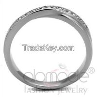TK2684 Overlapping /w Channel Setting Stainless Steel Top Grade Crystal Ring