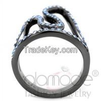 TK2695 Stylish Aquamarine & Light Black Stainless Steel Top Grade Crystal Ring