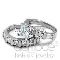 LO3749 Classy Bar Setting Rhodium AAA Grade CZ Wedding Ring Set
