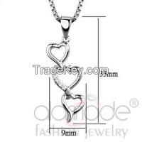 3W843 Cascading Hearts Rhodium AAA Grade CZ Chain Pendant
