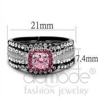 TK2651 Black Lust Claw Set Halo Stainless Steel AAA Grade CZ Wedding Ring Set