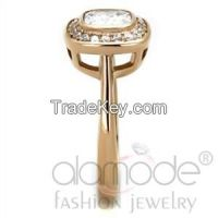 TK1844 Rose Gold Halo Stainless Steel AAA Grade CZ Engagement Ring