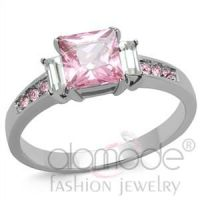 Fashion Jewelry Wholesale Rose Pink Stainless Steel Ring