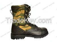 black genuine leather military combat boots