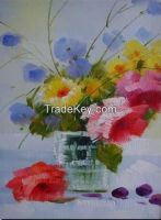 Paint manufacturers in china hand painted canvas picture flower