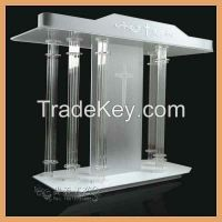 white color acrylic church pulpit, 2015 new organic glass church pulpit