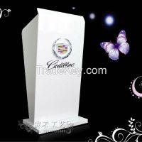 elegant white color acrylic podium, acrylic podium with LED lights