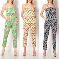 2015 NEW LADIES FLOWER PRINT SEXY TUBE SUMMER CASUAL PARTY JUMPSUITS D1350