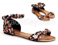 2015 Fashion Ladies Shoes Flat Fancy Women Party Dress Summer Floral Sandals G3530