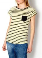 2015 New Women Slim Fashion Striped Colour Trendy Stylish T-shirt Girls Top B4017