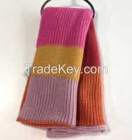 100% acrylic knitting neck scarf in stripes
