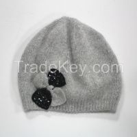 Angola and wool blending yarns knitting hat for lady