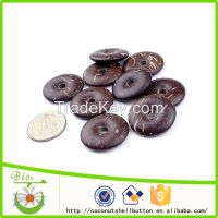 30mm dark chocolate color lucky coin shape natural coconut shell custom Chinese amulet pendant