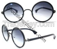 Retro and Classic Round Frame Suglasses Unisex Style Stainless Steel Double Plating Eyewear