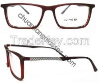 100% Pure Acetate Square Frame Optical Eyewear Carbonate Fabric Temple Eyeglasses