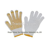 Cotton/Polyester String Knit Work Gloves, Bleached, PVC Dots