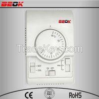 Beok mechanical heat cool 3 fan speed 2/4 pipes fan coil thermostat