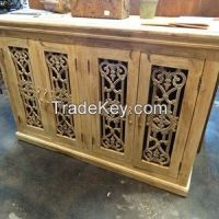 4 Door Cabinet with Reclaimed Iron White or Sage Grey