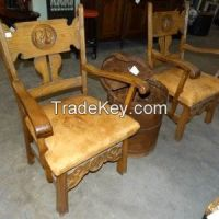 Antique Carved Leather Chair